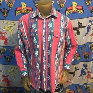 Vintage Faded Wrangler Western Cowboy Shirt Large